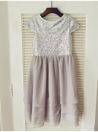 Chic A-Line/Princess Chiffon/Sequined Flower Girl Dresses Knee-length Scoop Neck Sleeveless