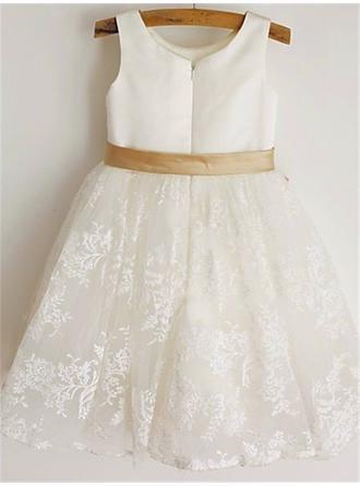 Scoop Neck A-Line/Princess Flower Girl Dresses Satin/Lace Sash/Bow(s) Sleeveless Knee-length