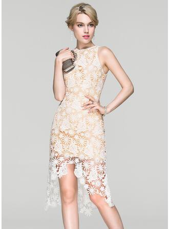 Sheath/Column Scoop Neck Asymmetrical Lace Cocktail Dress