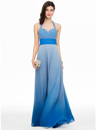 A-Line/Princess Sweetheart Halter Floor-Length Chiffon Prom Dresses With Beading Sequins