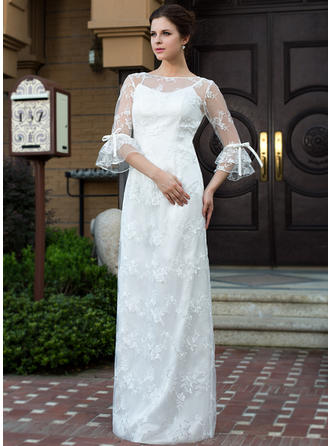 Magnificent Floor-Length Sheath/Column Wedding Dresses Scoop Lace