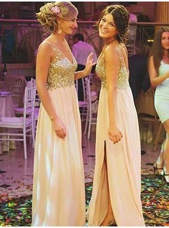 A-Line/Princess Chiffon Bridesmaid Dresses Beading Split Front V-neck Sleeveless Floor-Length