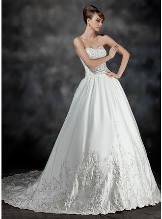 Luxurious Chapel Train Ball-Gown Wedding Dresses Sweetheart Satin Sleeveless