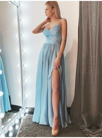 A-Line/Princess Chiffon Prom Dresses Delicate Floor-Length V-neck Sleeveless