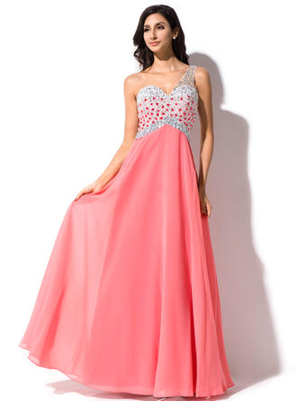A-Line/Princess One-Shoulder Floor-Length Prom Dresses With Beading Sequins