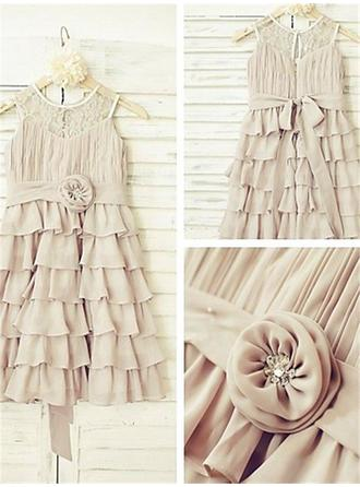 Chic Ankle-length A-Line/Princess Flower Girl Dresses Scoop Neck Chiffon Sleeveless