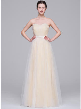 Luxurious Floor-Length A-Line/Princess Wedding Dresses Sweetheart Tulle Sleeveless