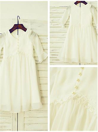A-line/Princess Scoop Long Sleeves Ruffles Floor-Length Chiffon Flower Girl Dresses