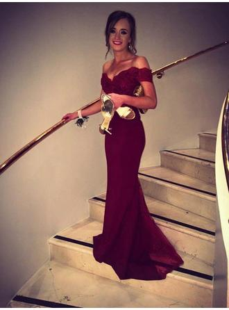 Magnificent Off-the-Shoulder Sleeveless Prom Dresses Sweep Train Trumpet/Mermaid