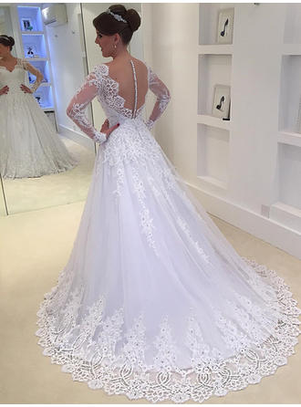 Ball-Gown Tulle Lace Long Sleeves V-neck Wedding Dresses