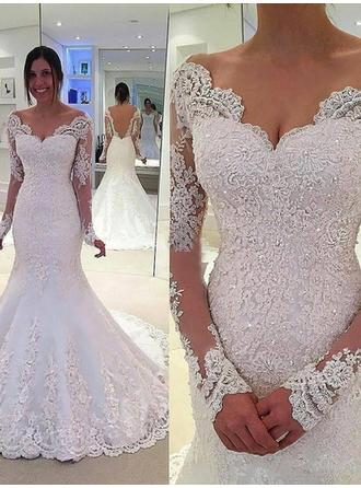 Trumpet/Mermaid Off-The-Shoulder Chapel Train Wedding Dress With Beading Appliques Lace (002147794)
