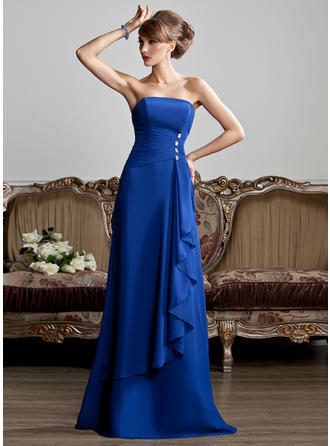 A-Line/Princess Strapless Chiffon Sleeveless Floor-Length Beading Cascading Ruffles Evening Dresses