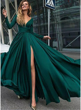 Chiffon Long Sleeves A-Line/Princess Prom Dresses V-neck Ruffle Split Front Floor-Length