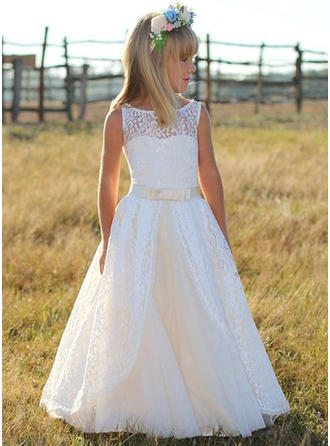 A-Line/Princess Scoop Neck Floor-length With Sash Tulle/Lace Flower Girl Dress