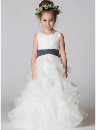 A-Line/Princess Scoop Neck Floor-length With Sash Satin/Tulle Flower Girl Dresses
