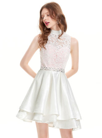 A-Line/Princess High Neck Taffeta Sleeveless Asymmetrical Beading Sequins Homecoming Dresses