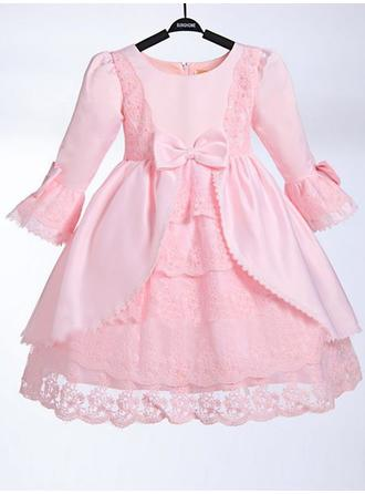Scoop Neck A-Line/Princess Flower Girl Dresses Taffeta/Lace Bow(s) 3/4 Sleeves Knee-length