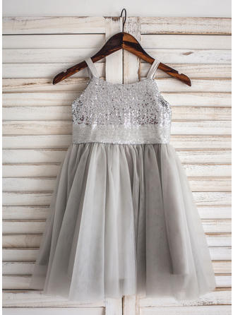 2019 New Knee-length A-Line/Princess Flower Girl Dresses Straps Tulle/Sequined Sleeveless