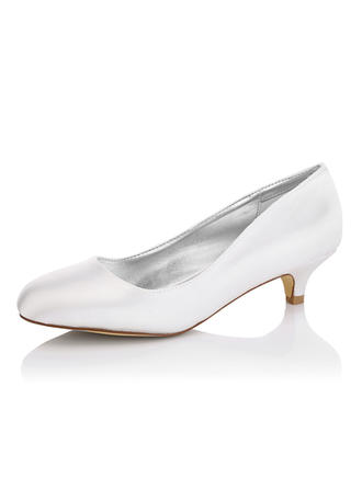 Women's Closed Toe Pumps Dyeable Shoes Kitten Heel Satin Yes Wedding Shoes