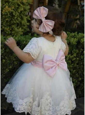 Tulle Scoop Neck Lace Bow(s) Baby Girl's Christening Gowns With 1/2 Sleeves