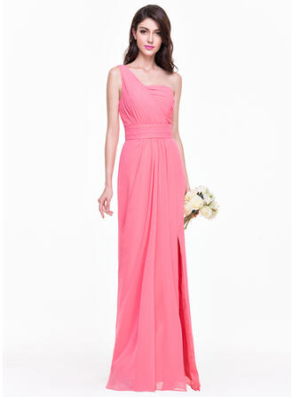 Sheath/Column One-Shoulder Floor-Length Chiffon Bridesmaid Dress With Ruffle Split Front