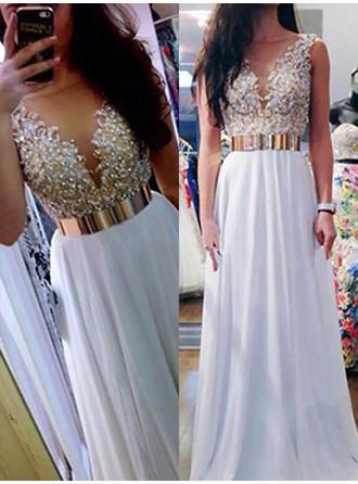 Sweetheart Evening Dresses Floor-Length A-Line/Princess Sleeveless V-neck