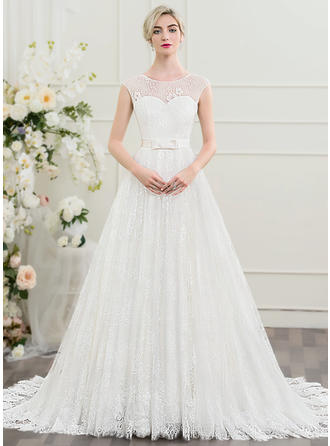 Beading Bow(s) A-Line/Princess - Lace Wedding Dresses