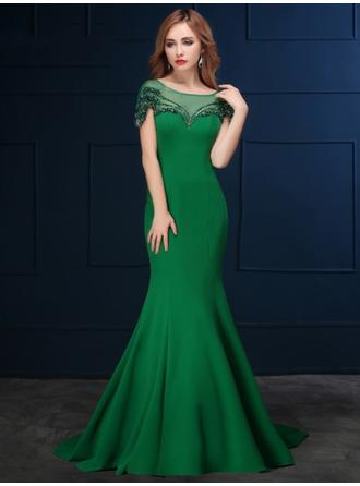 Trumpet/Mermaid Scoop Neck Sweep Train Evening Dress With Beading Sequins Bow(s)