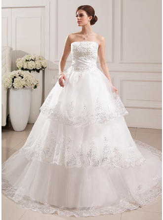 Elegant Cathedral Train Ball-Gown Wedding Dresses Strapless Tulle Sleeveless