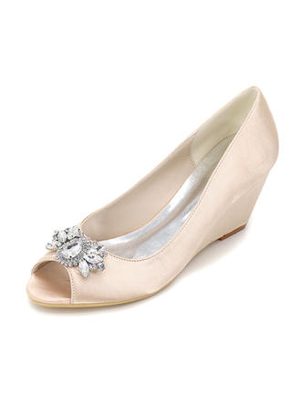 Women's Peep Toe Pumps Wedges Wedge Heel Silk Like Satin With Others Wedding Shoes