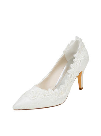 Women's Pumps Stiletto Heel Silk Like Satin With Pearl Wedding Shoes