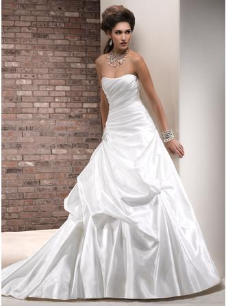 A-Line/Princess Strapless Court Train Wedding Dresses With Ruffle