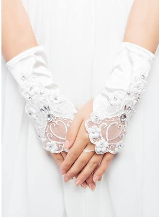 Elastic Satin Ladies' Gloves Wrist Length Bridal Gloves Cotton Gloves