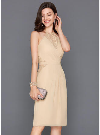 Sheath/Column Ruffle Bow(s) Split Front Chiffon Homecoming Dresses Scoop Neck Sleeveless Knee-Length