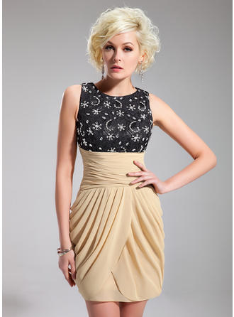 Sheath/Column Scoop Neck Short/Mini Chiffon Lace Cocktail Dress With Ruffle Beading Sequins