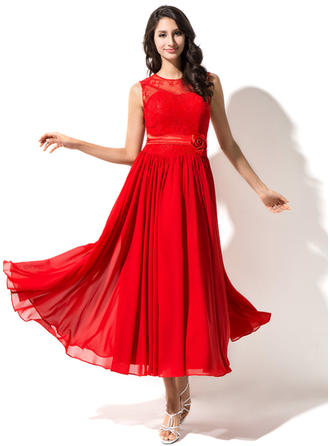 A-Line/Princess Tea-Length Chiffon Lace Homecoming Dresses With Beading Flower(s)