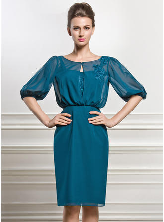 Sheath/Column Chiffon 1/2 Sleeves Scoop Neck Knee-Length Zipper Up Covered Button Mother of the Bride Dresses