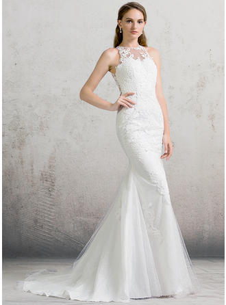 Newest Court Train Trumpet/Mermaid Wedding Dresses Scoop Tulle Lace Sleeveless