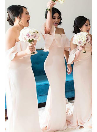 Trumpet/Mermaid Charmeuse Bridesmaid Dresses Cascading Ruffles Off-the-Shoulder Sleeveless Sweep Train