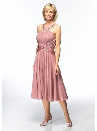 Halter Tea-Length Cocktail Dresses With Pleated