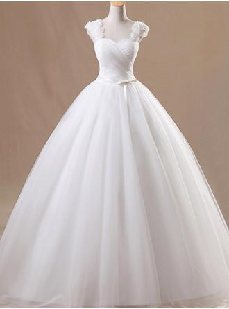 Ball-Gown Organza Sleeveless Square Floor-Length Wedding Dresses