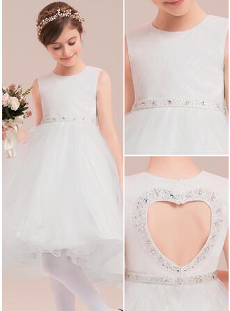 A-Line/Princess Asymmetrical Flower Girl Dress - Tulle Sleeveless Scoop Neck With Beading/Rhinestone