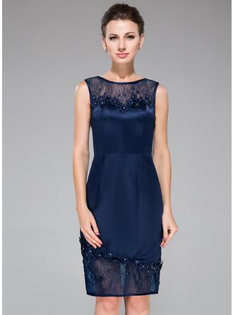 Satin Lace Knee-Length Scoop Neck Sheath/Column Cocktail Dresses
