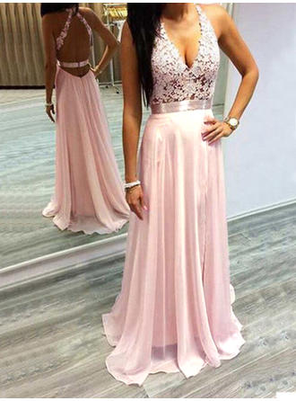Chiffon Sleeveless A-Line/Princess Prom Dresses Halter Lace Sweep Train
