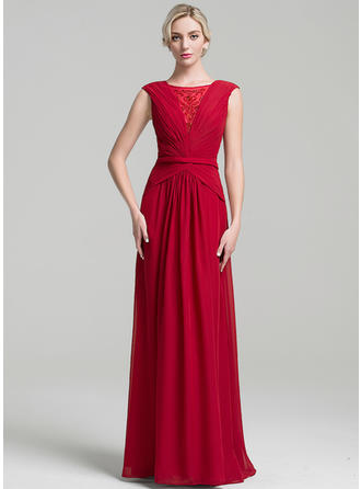 A-Line/Princess Scoop Neck Chiffon Sleeveless Floor-Length Ruffle Beading Mother of the Bride Dresses