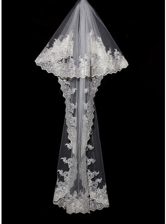 Chapel Bridal Veils Tulle Two-tier Classic With Lace Applique Edge Wedding Veils