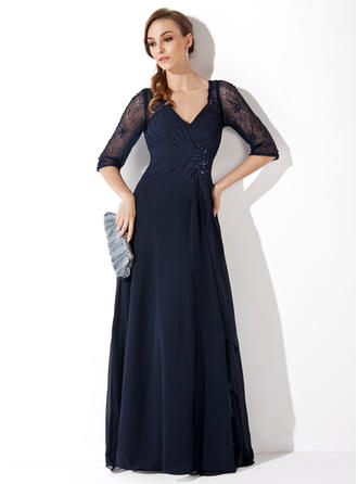 A-Line/Princess V-neck Chiffon Lace 1/2 Sleeves Floor-Length Ruffle Beading Sequins Mother of the Bride Dresses