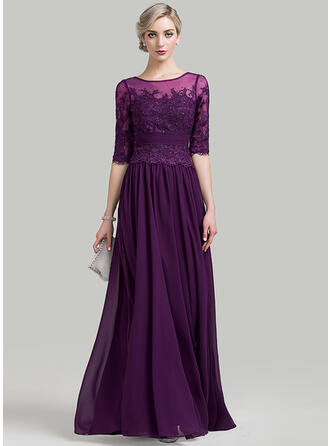 A-Line Scoop Neck Floor-Length Chiffon Mother of the Bride Dress With Ruffle Beading Sequins