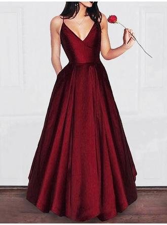 Satin Magnificent Evening Dresses With V-neck