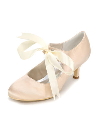 Women's Pumps Stiletto Heel Silk Like Satin With Ribbon Tie Wedding Shoes